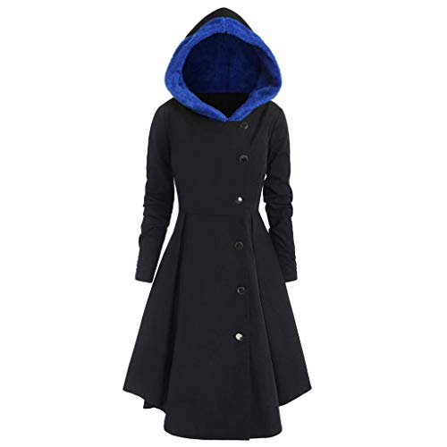 TnaIolr Women's Overcoat Ladies Plus Size Asymmetric Fleece Hooded Single Breasted Long Drap Buttons ()