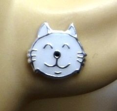 colore: Bianco a forma di testa di gatto, Katy Craig in confezione regalo 0,9cm x 0,8 cm Orecchini a lobo in argento puro