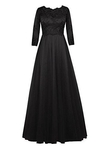 of the mit rmeln Fanciest Spitzen Abendkleider Black Damen Lang Mother Bride wfIOAF