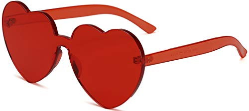 J&L Glasses Fashion Rimless Heart-Shaped One Piece Clear Lens Color Candy Sunglasses (Red, Heart)