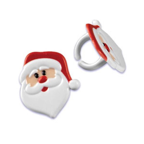 (Dress My Cupcake DMC41X-816 12-Pack Santa Claus Face Ring Decorative Cake Topper, Christmas, Red/White)