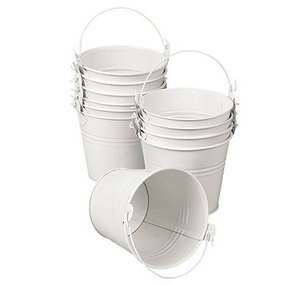- Wedding Favors Tin Pail 2 Oz White Favor Set of 12 Precut White Ribbons Andthank You Tags Containers 2 in Tall