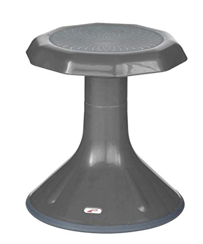 ECR4Kids ACE Active Core Engagement Wobble Stool for Kids, Flexible Classroom & Home Seating, Kids Chair, Flexible Seating, Wiggle Chairs, 360 Degree Movement, 15-inch Seat Height, Grey