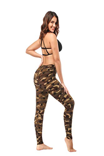 ZOOSIXX High Waisted Leggings for Women – Extra Soft Yoga Pants for Athletic, Workout (One Size, Army Green Stars) by ZOOSIXX