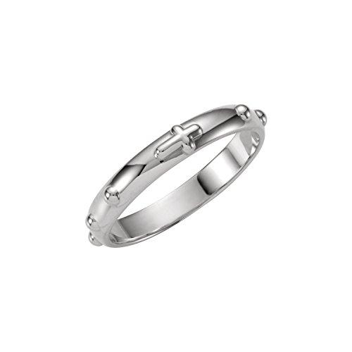 - 14K White Gold Rosary Ring Size 6