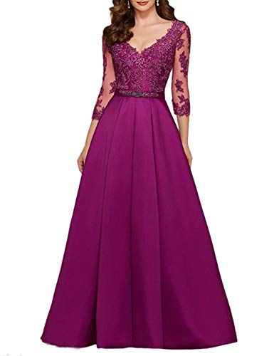 Scarisee Women's 3/4 Long Sleeves V-Neck Beaded Evening Prom Party Dresses Lace Appliqued Mother of The Bride Gowns Formal Fuchsia Custom