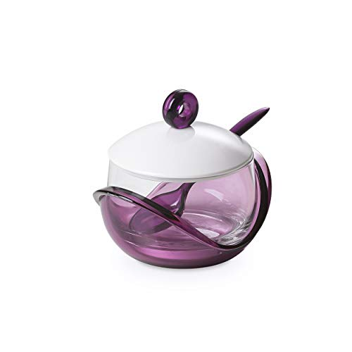 Cheese or sugar bowl with transparent glass container, base, lid and plastic spoon Purple, ergonomic and innovative design, Trendy line by -