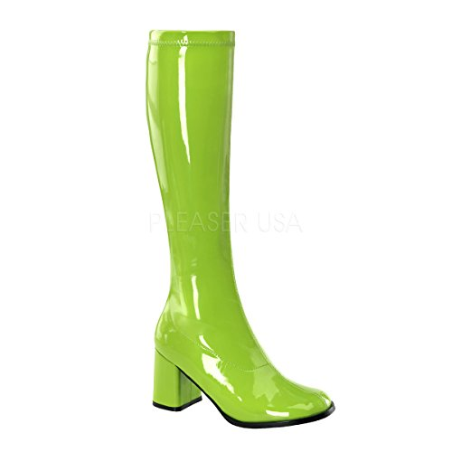 Funtasma by Pleaser Women's Gogo-300 Boot,Lime Stretch Patent,8 M