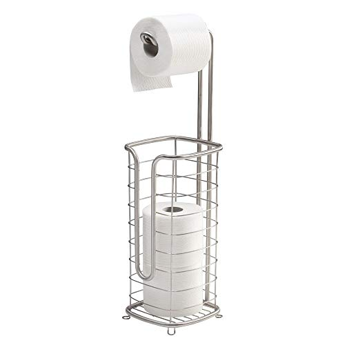 mDesign Free Standing Toilet Paper Holder Stand and Dispenser, with Storage for 3 Spare Rolls of Toilet Tissue While Dispensing 1 Roll - for Bathrooms/Powder Rooms - Holds Mega Rolls