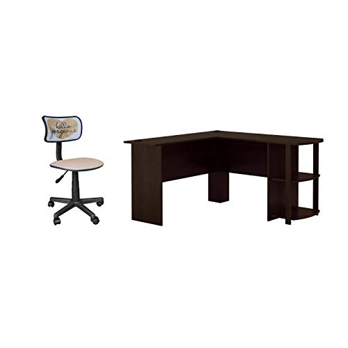 Urban Shop Swivel Mesh Office Chair in Hello Gorgeous Bundle with Ameriwood, L-Shaped Office Desk with Side Storage in Dark Russet Cherry Finish ()