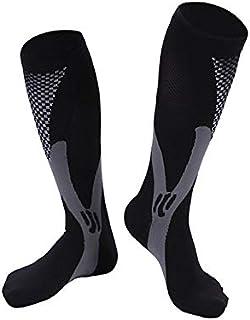 fghfhfgjdf Magic Compression Socks Men Women Breathable Sports Cycling Running Stockings Soccer High Socks(Black L/XL)