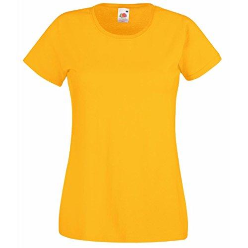 Valueweight de Lady-fit Wear conector en T de cuello de manga corta para mujer bajera para redondo Casual de hombre de amarillo