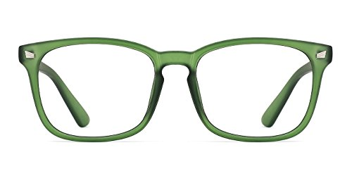 TIJN Unisex Non-Prescription Eyeglasses Glasses Clear Lens Square Eyewear Grace Green Frame]()
