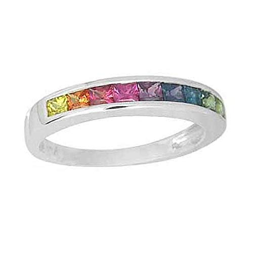 EQUALLI Rainbow Sapphire Half Eternity Band Ring 1ct in 14K White Gold (Size: 9) ()