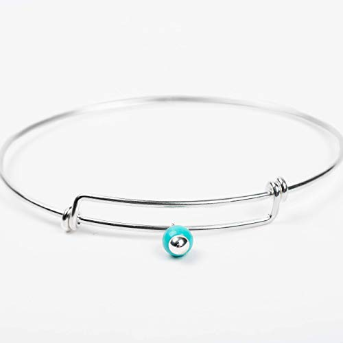 Adjustable Sterling Silver and Aqua Blue Mexican Turquoise Bangle Bracelet ()