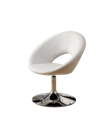Furniture of America Aspen Padded Leatherette Swivel Chair, White Review