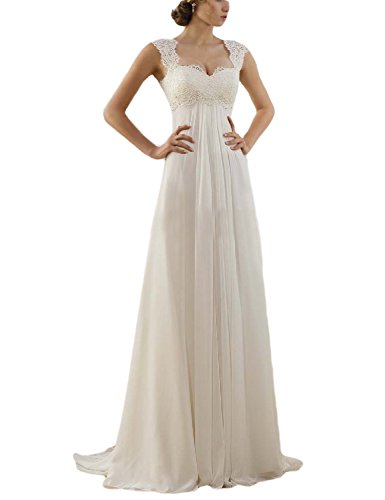 OYISHA Sleeveless Lace Chiffon Evening Wedding Dresses Long Bridal Gowns WD20 Ivory 10