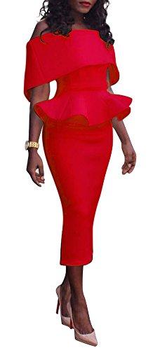 Les Femmes Blansdi Au Large De L'épaule Jabot Plaine Robe Peplum Crayon Partie Moulante Rouge