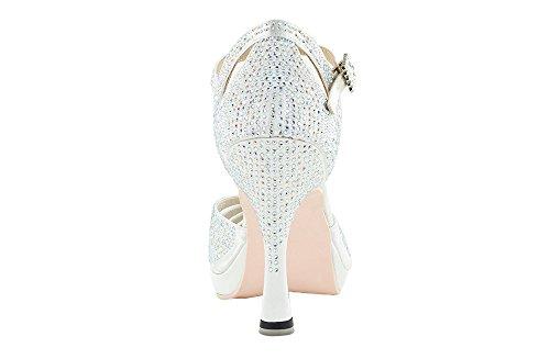 Scarpa Da Ballo Punta aperta In Raso Bianco Con Crystall Strass White Brilliant tacco 10 cm