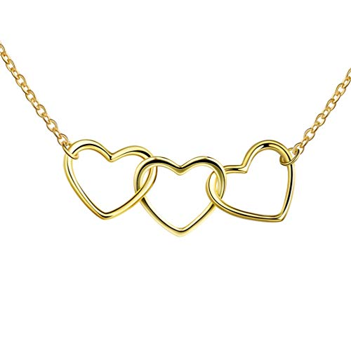 Besilver Triple Heart Necklace 925 Sterling Silver 18K Gold Filled Three Hearts Infinity Love Necklace Contemporary Family Jewelry for Mom Daughter Sister Best Friends FP0060Y