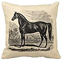 18 x 18 Inches Vintage Horse - Morgan Equestrian Polyester Decorative Throw Pillow Case Cushion Cover