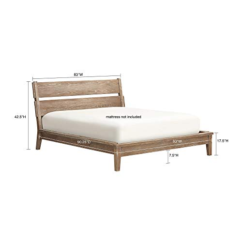 (INK+IVY II115-0015 Oaktown Frame with Headboard and Footboard, Solid Oak Platform beds with Wood Slat Support, Reclaimed Grey)
