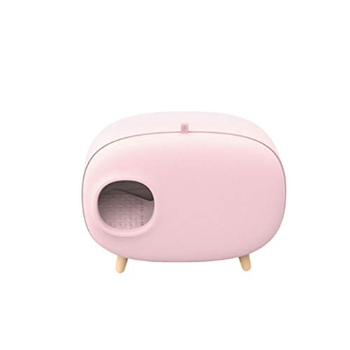 Cat Toilet Litter Box Fully Enclosed Large Anti-Splashing Smelly Drawer Flip Cat Cat Pot Cat Supplies (Color : Pink)