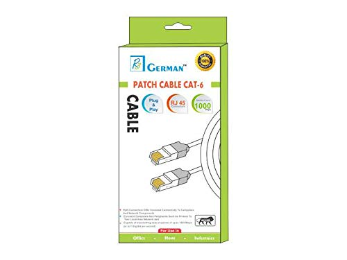 R3 German 10 Meter CAT6 RJ45 Ethernet Patch Cord CAT6 RJ45 LAN Straight Cable  White