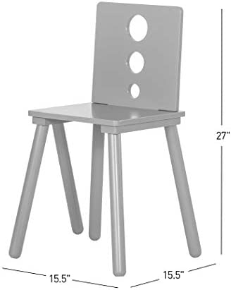 Forever Eclectic Cirque 3-Piece Wooden Kids Table And 2 Chair Set, Cool Gray