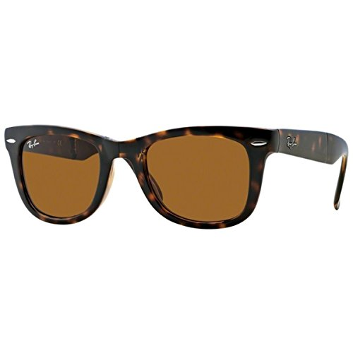 Ray-Ban RB4105 Wayfarer Folding Sunglasses, Light Tortoise/Brown, 54 mm