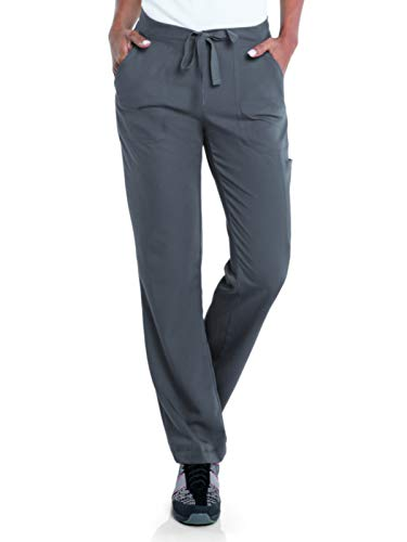 (Urbane Women's Flare Leg Drawstring Scrub Pant Taylor, Steel Grey, Sml)