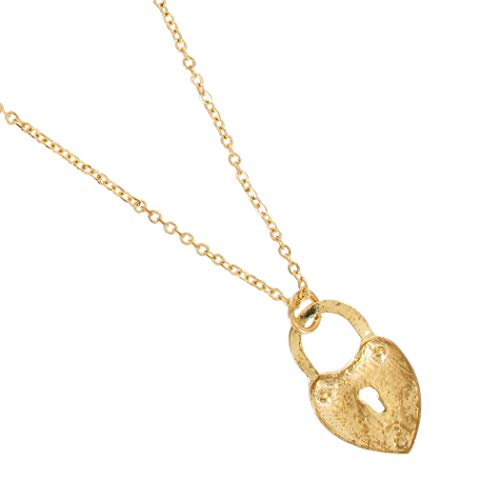 "Gold Tone Heart Shaped Lock Keyhole Pendant Necklace 18"" Necklace For Women"