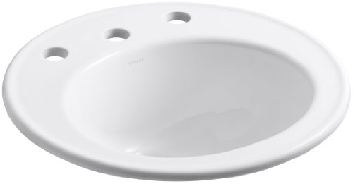 KOHLER K-2202-8-0 Brookline Self-Rimming Bathroom Sink, White