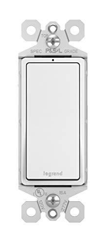 Legrand-Pass & Seymour TM870WSLCC10 Radiant 15 Amp Single Pole Rocker Switch with White LED Locator Light -