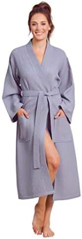 Luxurious Robe Soft Absorbent Lightweight Long Kimono Waffle Spa Bathrobe for Women