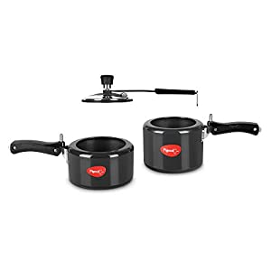 Pigeon by Stovekraft Hard Anodised Pressure Cooker 2 and 3 Litre Inner Lid with Induction base, silver, medium (14454)