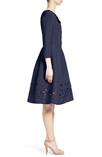 f24b810f7bf3c Carolina Herrera Laser Cut Eyelet Button Front Fit & Flare Dress Size 8 Navy