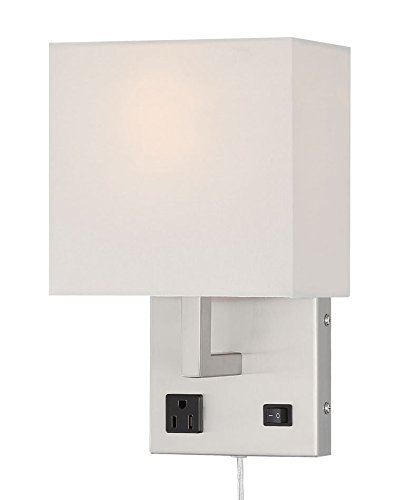 HomeFocus Bedside Wall Lamp Light with Outlet,Living Room Wall Lamp Light,Wall Sconces, Metal Satin Nickel, White Fabric Shade,Top Quality for Home and Hotel.