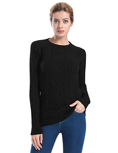 ninovino Women's Crewneck Pullover Cable Knit Sweater Long Sleeve Sweater Tops Black(Thick) - Cable Cashmere Sweater Crewneck