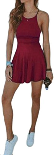 Cromoncent Dress Solid Red Spaghetti Swing Womens Wine Strap Backless Mini Sexy r8rvqF