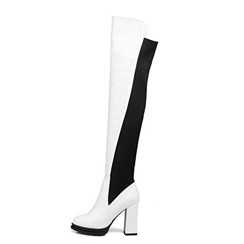 VogueZone009 Damen Hoher Absatz Hoch-Spitze Rein Ziehen auf Stiefel, Weiß, 36