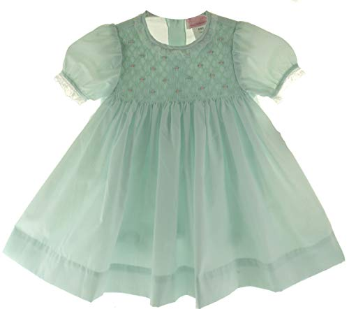 (Petit Ami Girls Smocked Dress Mint Green Portrait Outfit with Diaper Cover)