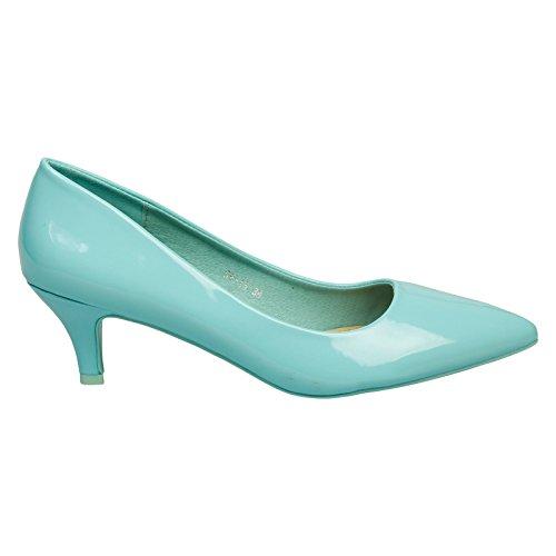 corte Zapatos estrecha punta Womens Slip Heel Miranda de ByPublicDemand Blue Kitten Patent con Low On Pq0nw7