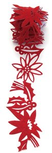 (Queen & Co Felt Fusion 1-3/5 Inch by 1 Yard Self Adhesive Ribbon, Poinsettias Red)