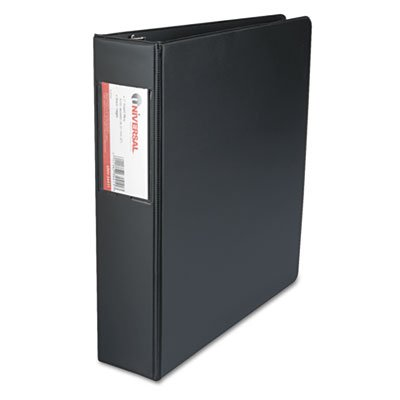 Suede Finish Vinyl Round Ring Binder With Label Holder, 2'' Capacity, Black, Total 12 EA, Sold as 1 Carton