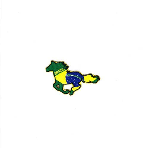 Multi Color Country National Flag Embroidered Iron on Backing Heat Seal Biker Horse Patch Applique (Brazil)