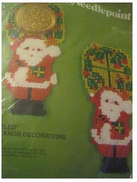 Vntage Bucilla Jeweled Door Knob Santas Needlepoint Plastic Canvas Kit