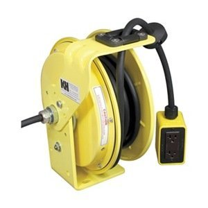 (KH Industries RTB Series ReelTuff Industrial Grade Retractable Power Cord Reel with Black Cable, 12/3 SJOW Cable Prewired with GFCI Protected Two Receptacle Outlet Box, 20 Amp, 25' Length, Yellow Powder Coat Finish)