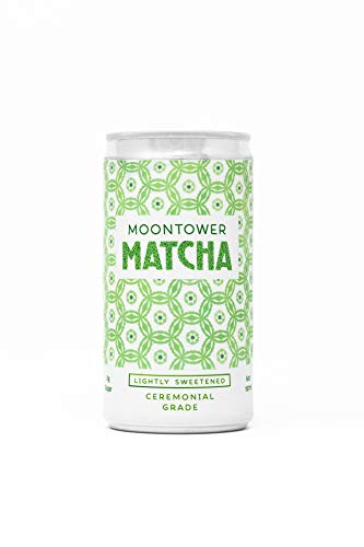 Moontower Matcha Green Tea, Ceremonial Grade Japanese Matcha Tea, Canned & Ready to Drink, Lightly Sweetened, 6 Ounce Cans, 12 Pack