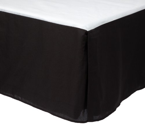 Divatex Home Fashions 200-Thread Count Queen Bed Skirt/Dust Ruffles, Black